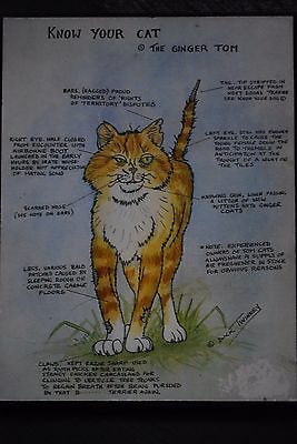 """Vintage Wall Plaque, Signed Dick Twinney. """"Know Your Cat"""". The Ginger Tom."""