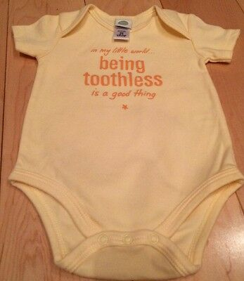 Little Me Baby 3 Months Unisex Yellow Short Sleeve Bodysuit NWOT