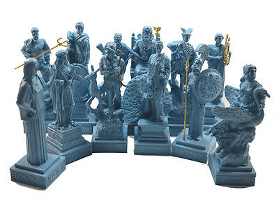 Gods Olympians 12 Sculpture set ancient Greek alabaster handpainted