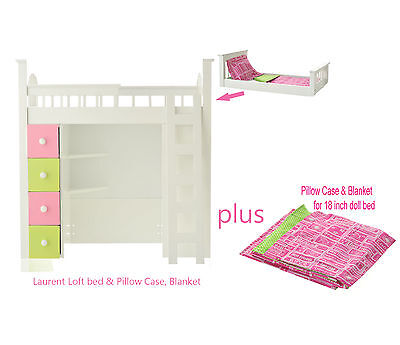 """Laurent LOFT BED HOT PINK GREEN LINENS for 18"""" American Girl Doll Bedding NEW"""