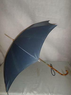 *vintage 1960's Petite Ladies Umbrella Bamboo Handle & Navy Canopy British Made*