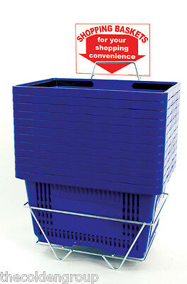 12 Jumbo Shopping Baskets - Plastic Handles - Metal Stand and Sign - Blue