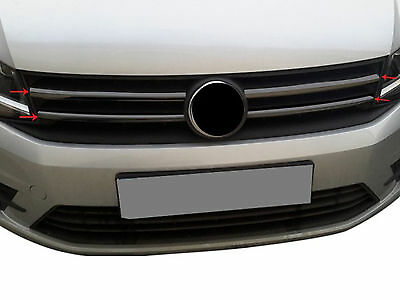 Dark Black Chrome 2pc Stainless Steel Front Grille Cover for VW Caddy (2015 on)