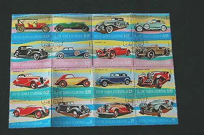 Equatorial Guinea Motor Cars 1974 Block Of Sixteen Stamps VFU