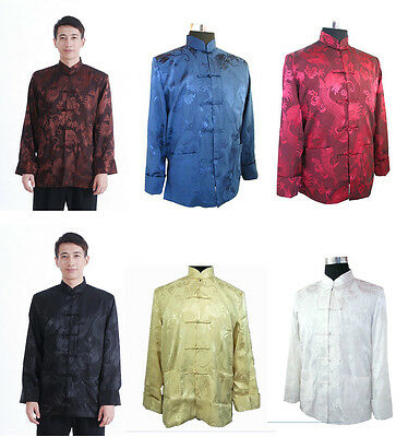 Free Shipping!Chines​e Men's Mandarin Collar Full Dragon Kung Fu Jacket Coat