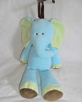 """Carter's Musical Elephant Blue Green Dots Plush Brahms Lullaby 12"""" Just One Year"""
