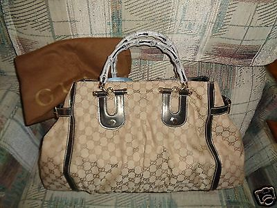 Gucci Pop Bamboo Canvas / Leather XL Shopper / Tote Excellent Cond Preowned RARE