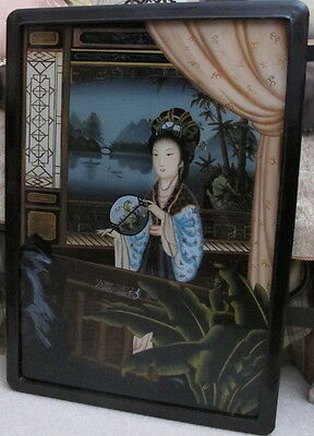 """Antique Asian Chinese Reverse Painting on Glass Court Lady with Fan 28"""" x 19.75"""
