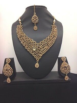 New Indian Bollywood Wedding Party Bridal Chocker Necklace set