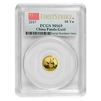 2017 1 Gram Chinese Gold Panda 10 Yuan PCGS MS 69 First Strike