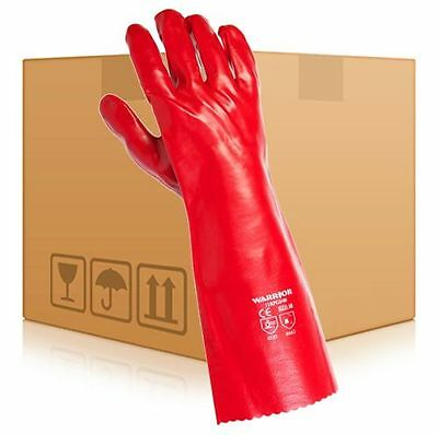 """12 Pairs Red PVC Gauntlet Long Arm Heavy Duty 16"""" Drain Cleaning Glove Size XL"""