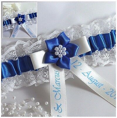 **personalised** Ivory Or White Lace  Bridal Garters With Royal Blue Satin Trim