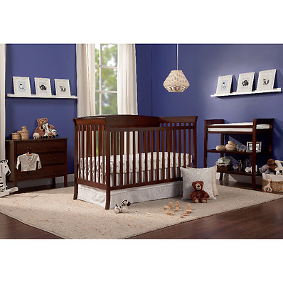 Nursery Furniture Sets 5 Piece Convertible Crib Bed Changing Table Dresser Brown