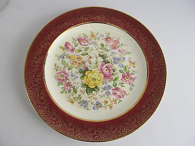 """Vintage Century by Salem 23k Encrusted Gold 10"""" Dinner Plate Dish Made in USA"""