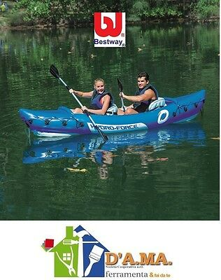 Canoa Kayak gonfiabile professionale 2 posti con remi pagaie BESTWAY mare fiume