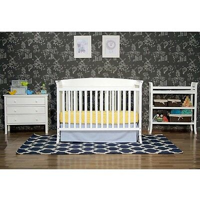 Nursery Furniture Sets 5 Piece Convertible Crib Bed Dresser Changing Table White