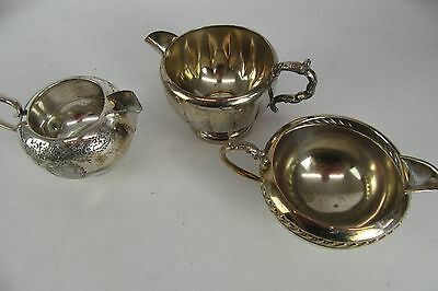 Vintage Silver Plated Mixed Lot of 3 coffee Creamers Essay Viking Plate Hutton
