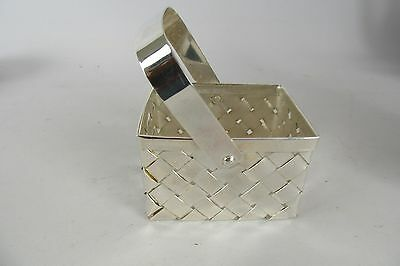 Vintage Silver Plated Decorative Woven Basket VERY NICE