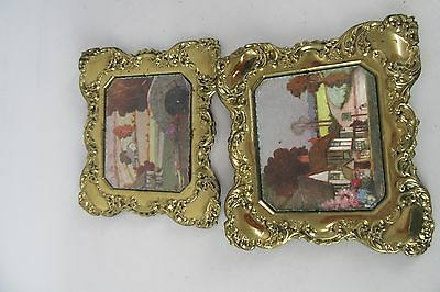 "Vintage Ornate Brass Regs Frames With Satin Finish Old Town 8"" Wide Set of 2"