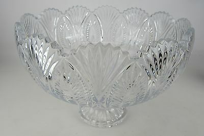Vintage Lead Cut Crystal Large Ornate Punch Bowl NICE Rare Antique
