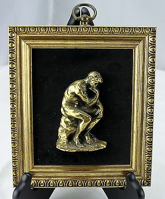 Gold Wall Hanging Set of 2 The Thinker & Woman Vintage E A Riba Co. NY Style 335