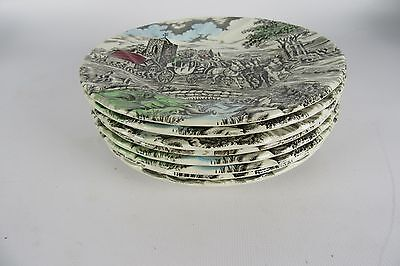 "Vintage Myott ""Royal Mail"" Multi-Color Transfer Ware Set of 8 Bread Plates"
