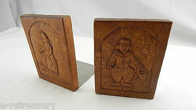 VINTAGE Mid Century Solid Wood Wooden Dutch BOY GIRL Bookends Hand Crafted OAK