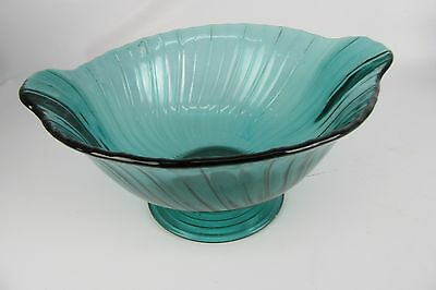 "Petal Swirl Serving Glass Console Bowl 10"" Ultra Marine Footed Jeannette"