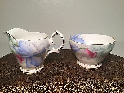 Bell China Blue Orchids Creamer and Open Sugar Bowl