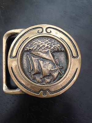 """Vintage """"Glory Of The Seas"""" Tech Ether Belt Buckle Solid Brass 1974"""