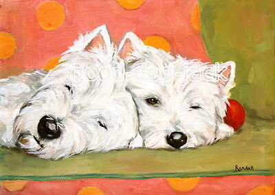 """West Highland Terrier ACEO WESTIE PRINT Painting """"Almost Asleep"""" Dog RANDALL"""