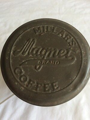 Antique Millar's Magnet Brand Coffee Tin Can Canister .