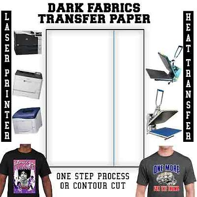 LASER HEAT TRANSFER PAPER - DARK 8.5 x 11 - 25 SHEETS BLUE LINE *Free Parchment*
