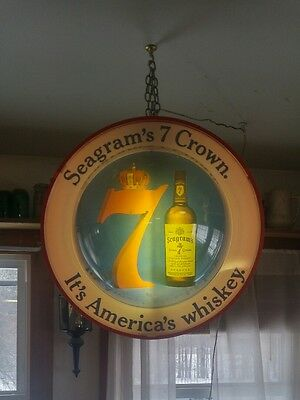 Vintage 1940's Seagrams Crown 7 Rotating Bar Light Sign Whiskey