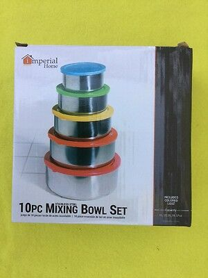 mperial Home 10 Piece Stainless Steel Mixing Bowl Set NEW #A3