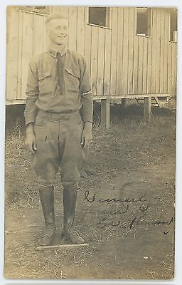 RPPC Handsome Young Army Soldier Barracks Vintage Military Real Photo Postcard
