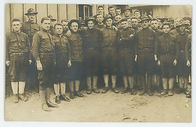 RPPC Group of Young Soldiers, Army Boys in Uniform Vintage Real Photo Postcard