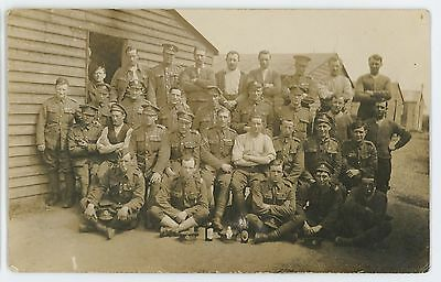 RPPC Group of Soldiers Posing in Camp, Military Vintage Real Photo Postcard