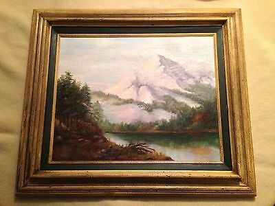 Antique Estate Mountainscape Oil on Canvas Painting Signed Antoinette