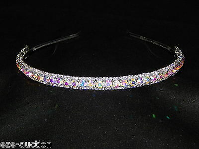 Bridal Wedding Jewelry Silver AB Iridescent Rhinestone Hair Headband Tiara