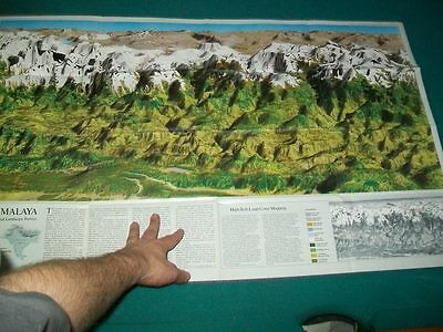 Large Vintage National Geographic Map Mount Everest Double Sided