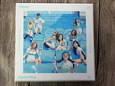 TWICE autographed 2016 mini2nd album PAGE TWO CD new korean Blue version 052016