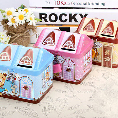 Small Metal House Save Money Cans Tinplate Children Creative Cartoon Piggy Bank