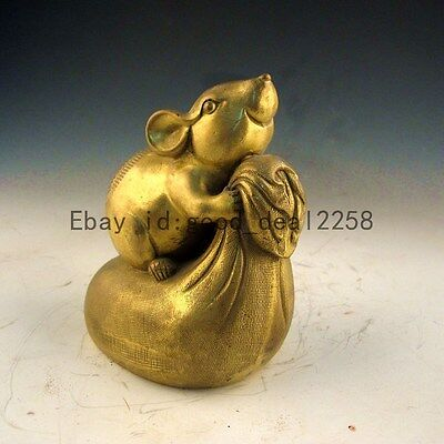 China Vintage Brass Hand-Carved Mice & Purse Statue