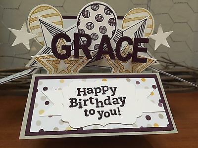 Birthday Handmade card in a box,  personalised Stampin Up