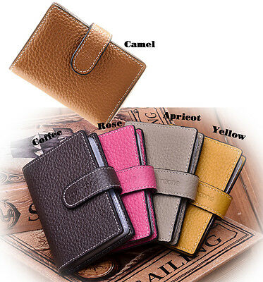Men Women Unisex Genuine Leather RFID Blocking ID Credit Card Wallet Snapped