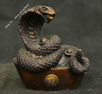 "8"" China Old Antique Pure Bronze Gilt Auspicious Yuan Bao Snake Fengshui Statue"