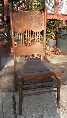 3 Antique Wooden Pressed Back Victorian Spindled Dinning Room Side Chairs