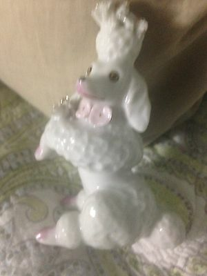 Vintage White Porcelain Poodle Figurine with Pink Feet Gold Accents