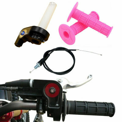 Pink Pit Dirt Bike Throttle Grip Twist With Cable Quick Action Fit For 110 125cc